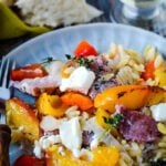 gamon peach and orzo traybake