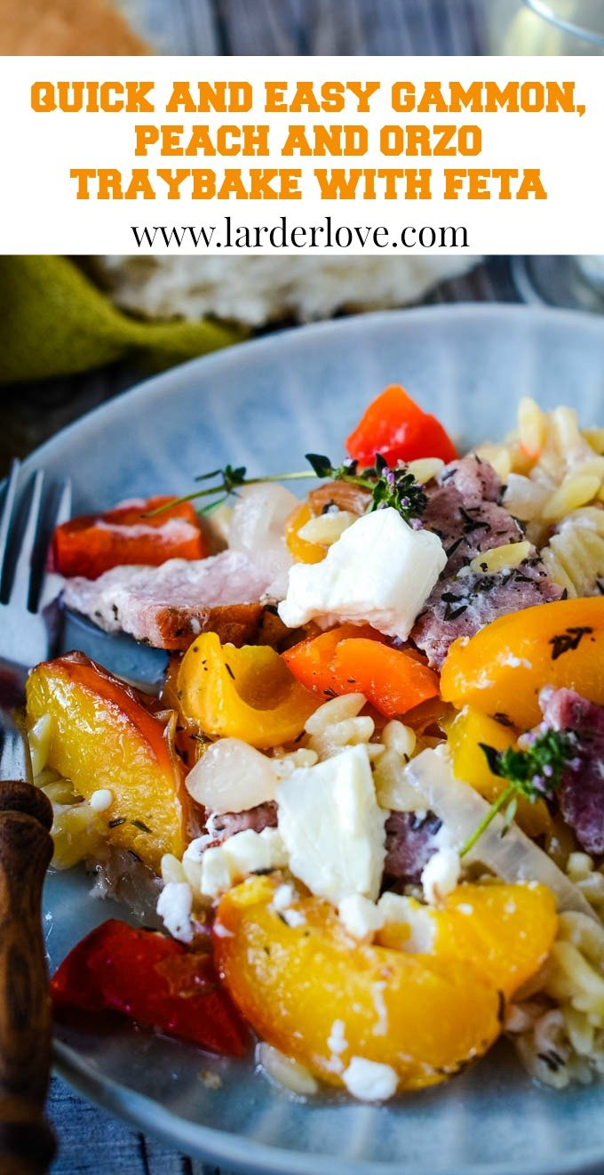 quick and easy gammon peach and orzo traybake with feta pin image