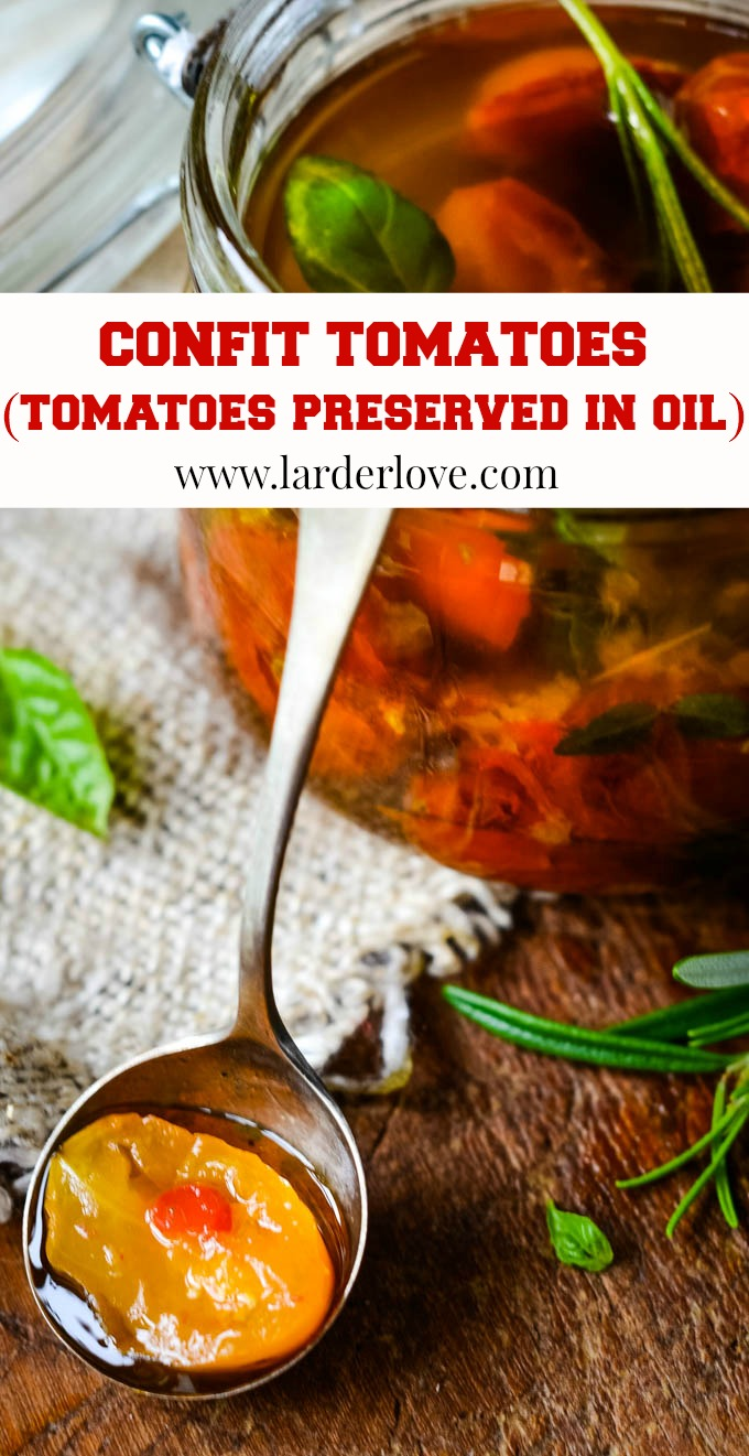confit tomatoes (tomatoes preserved in oil) pin image