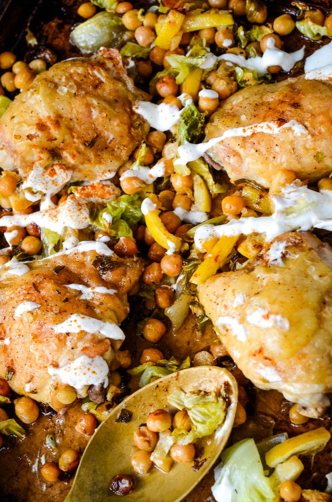 Roast chicken traybake with lemon and chickpeas