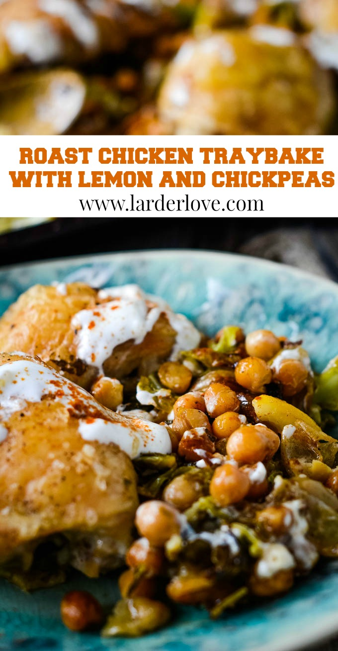 roast chicken traybake with lemon and chickpeas pin image