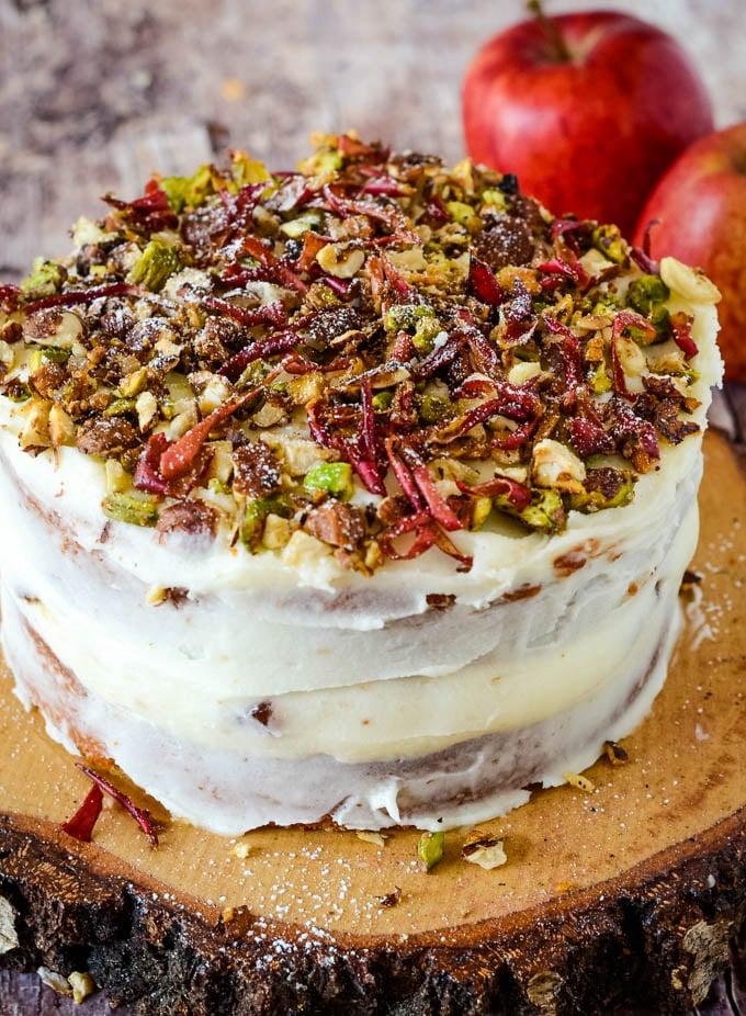 buerre noisette/brown butter apple cake on wooden cake base