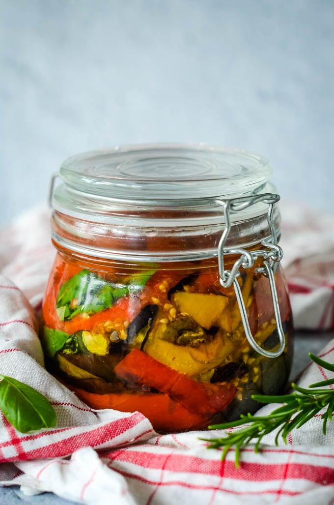 closed jar of mediterranean vegetables in oil