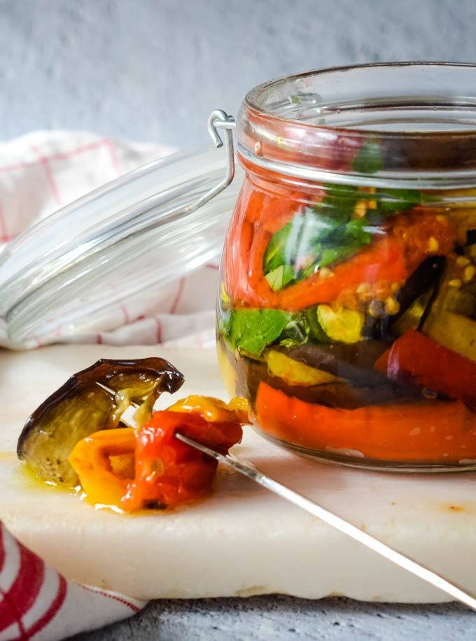 Mediterranean vegetables in olive oil