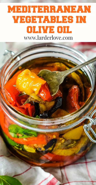 Mediterranean vegetables in olive oil pin image