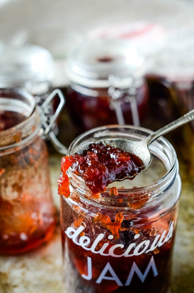 jar of jam with spoon on top