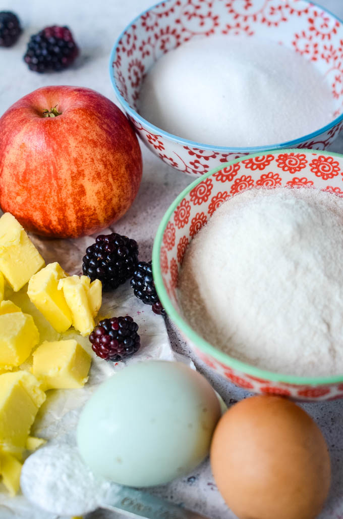 ingredients for blackberry and apple cake