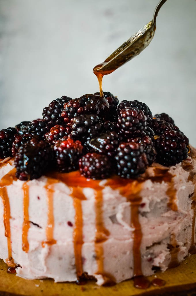 drizzle the syrup on the cake
