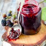 spoon at side of jar of jam