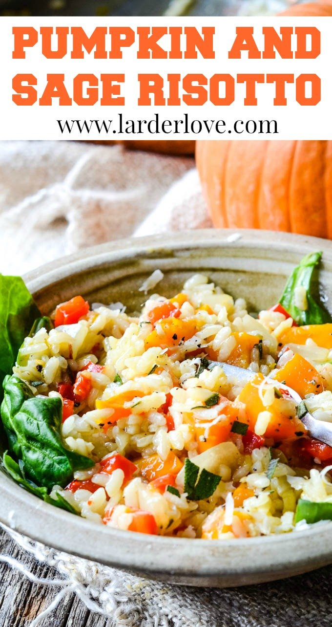 pumpkin and sage risotto pin image