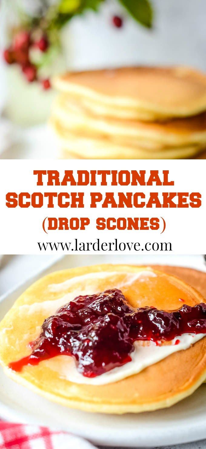 traditional Scotch pancakes aka drop scones pin image