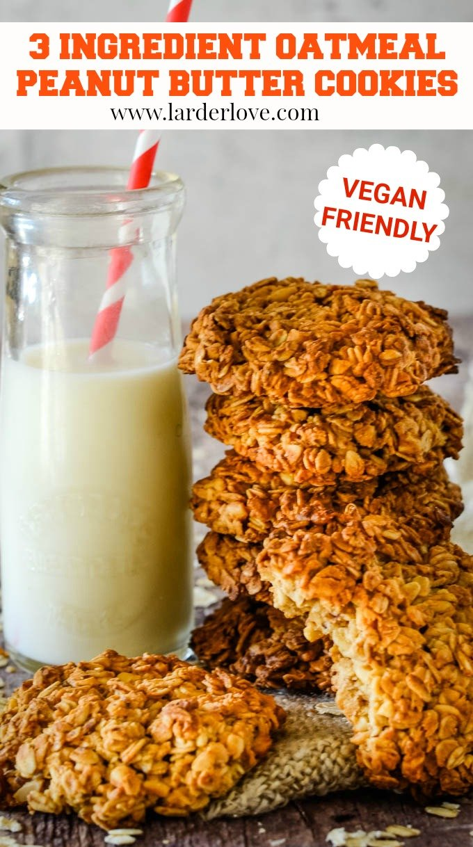 3 ingredient oatmeal peanut butter cookies pin image