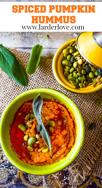 spiced pumpkin hummus pin image