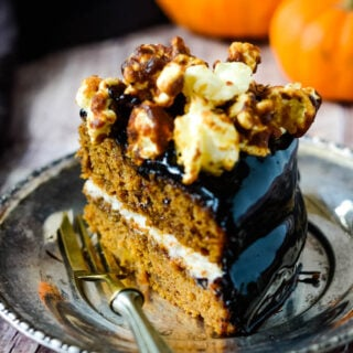 spiced pumpkin cake with chocolate glaze and salted caramel popcorn topping