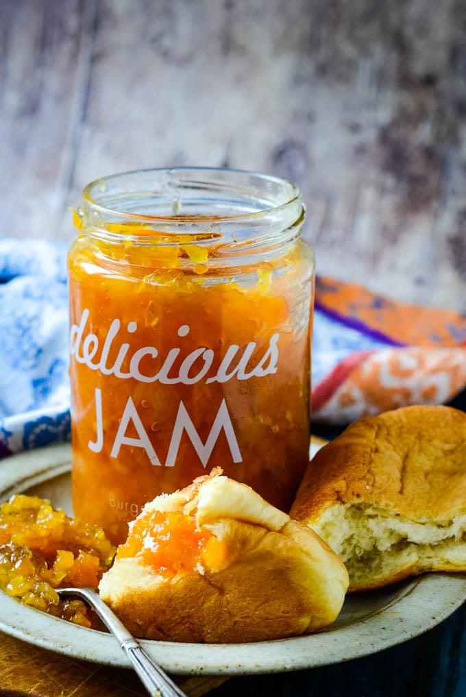 jam jar with croissants