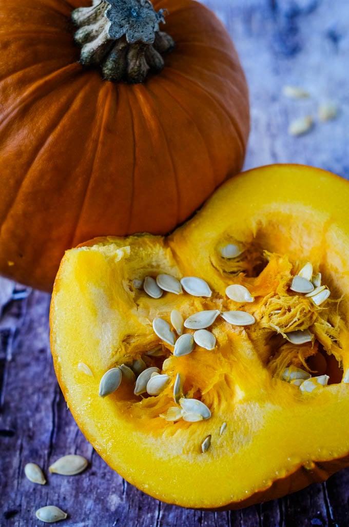 pumpkin cut in half