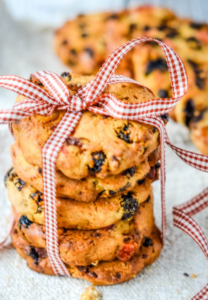 close up of cookie stack