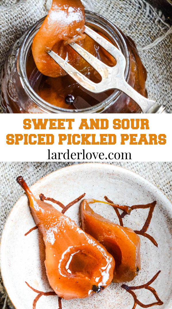 sweet and sour spiced pickled pears pin image