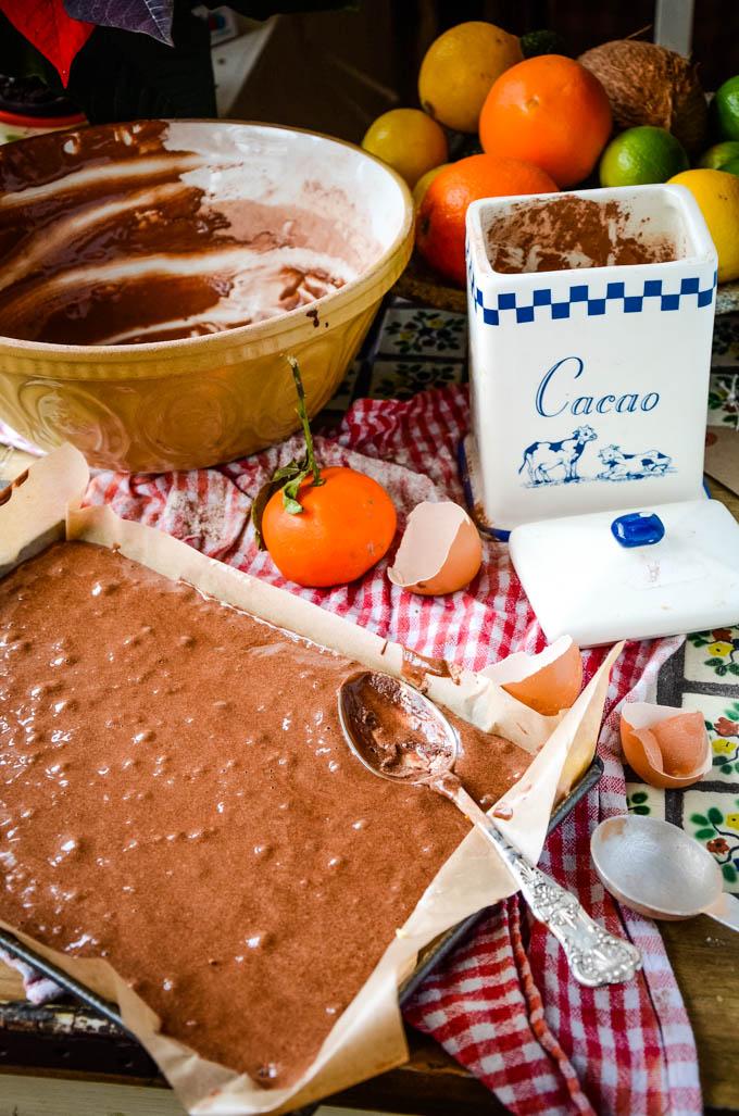 chocolate cake batter in baking tin