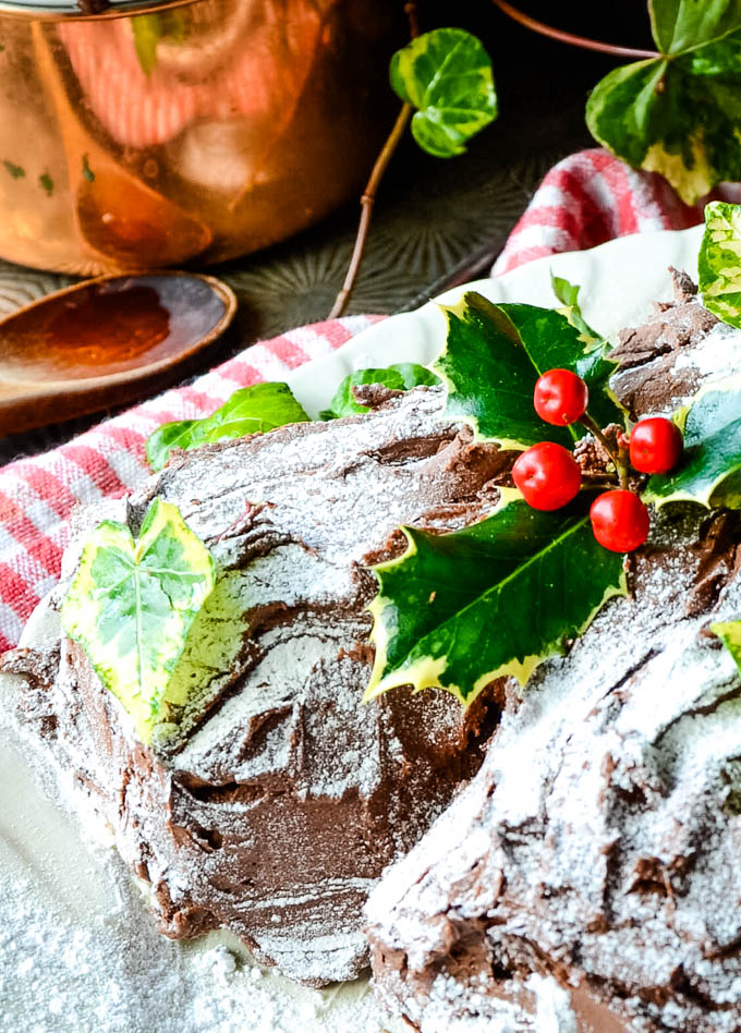 close up of top of yule log cake