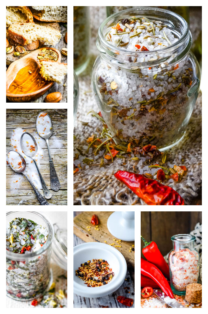 Homemade liqueurs and edible gifts - salts sugar and spice blends