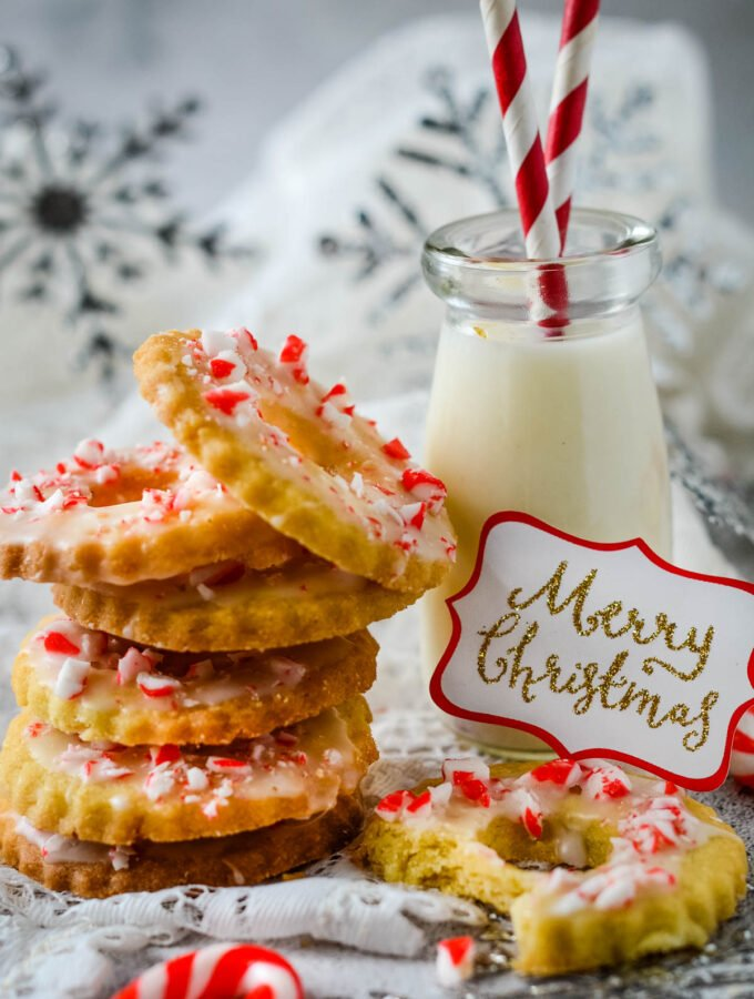 candy cane Christmas cookies with milk