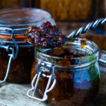 bacon and whisky jam with spoon on top