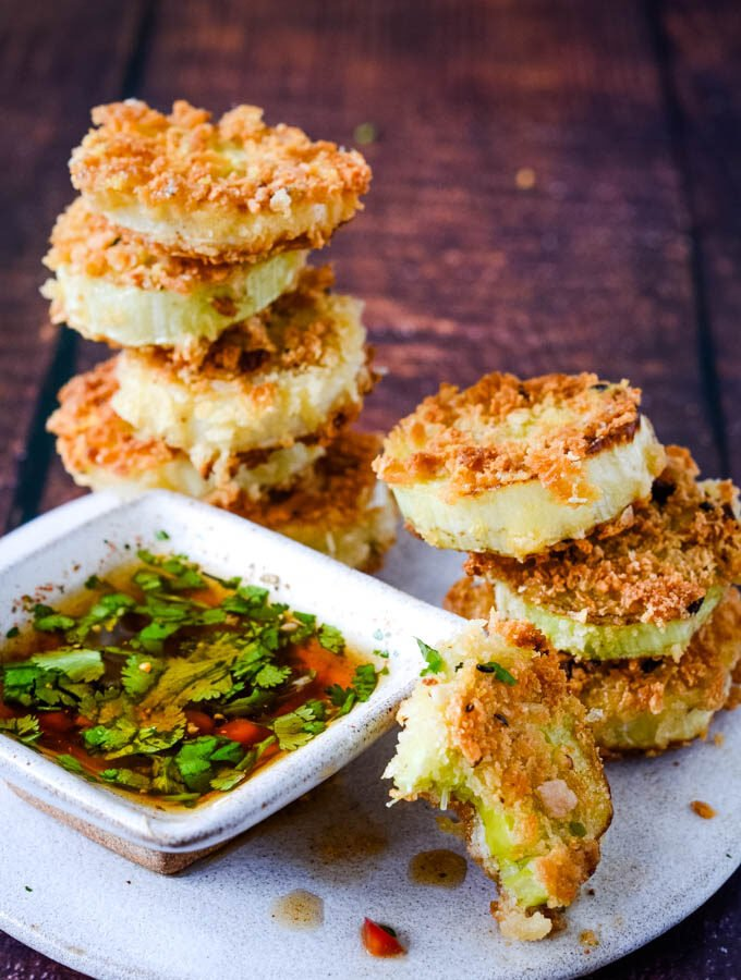leek and parmesan party bites with dipping sauce