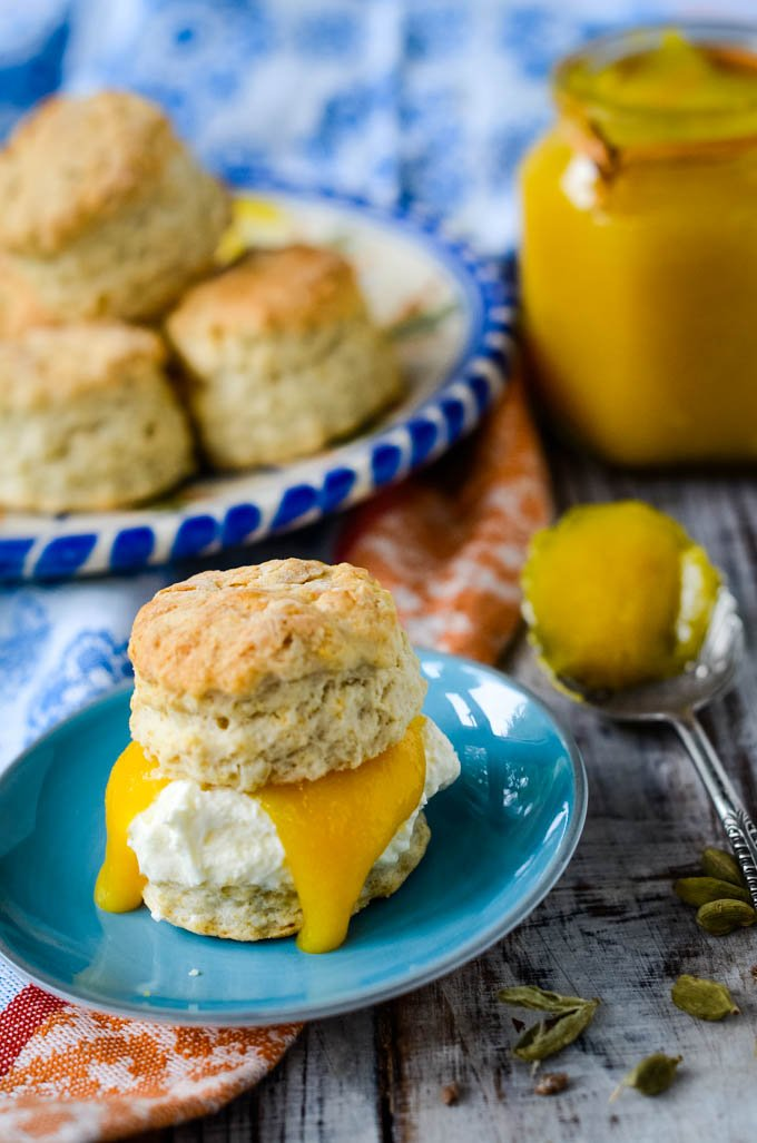 curd on a scone with cream