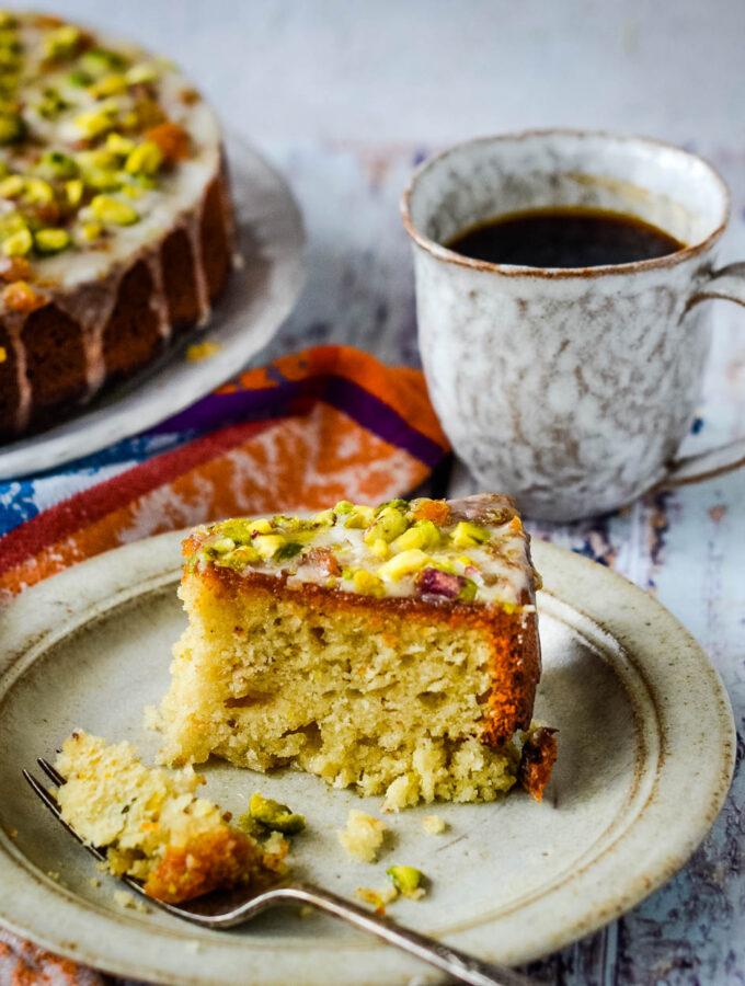yogurt and marmalade cake slice with coffee