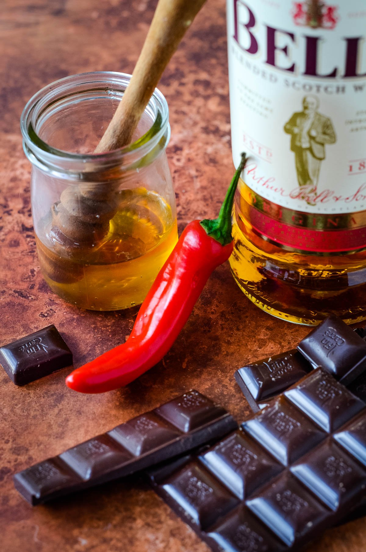 ingredients for chocolate liqueur