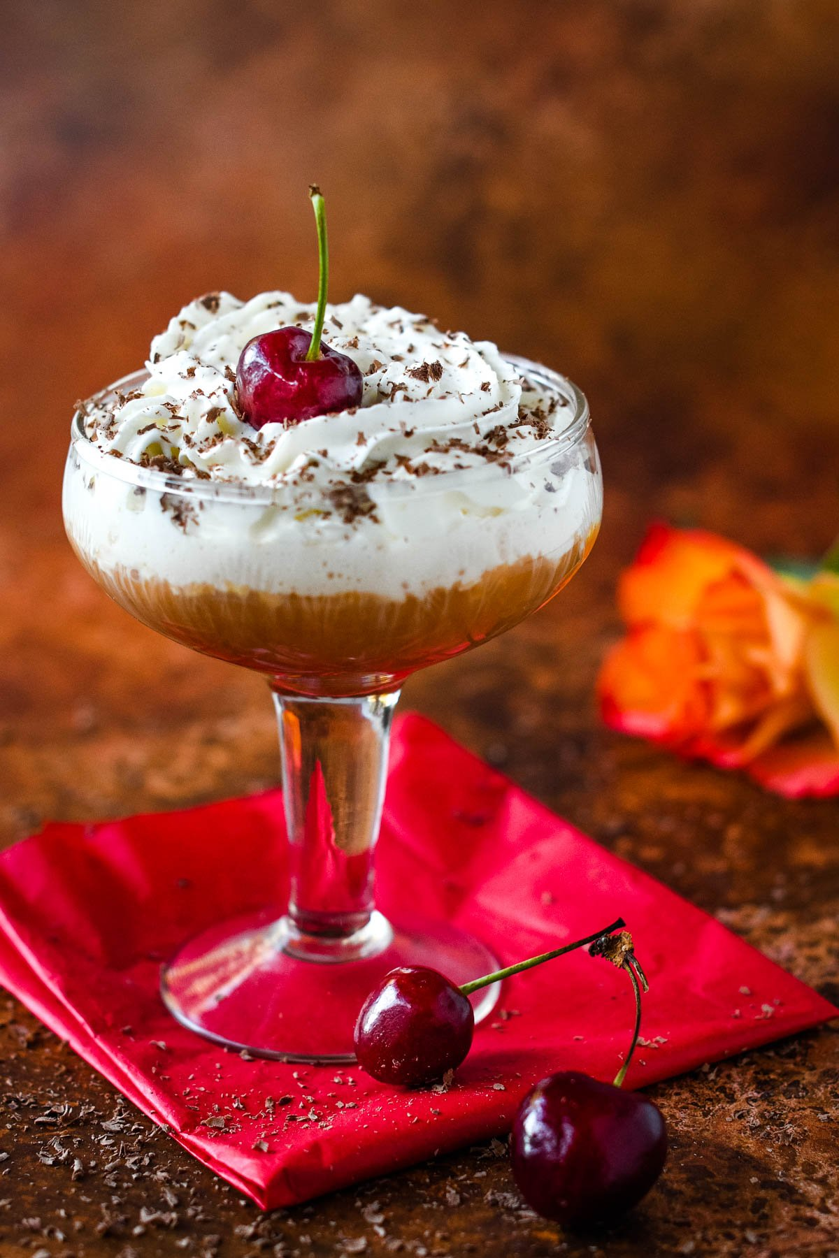 black forest cocktail with cherry on top