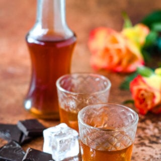 Lovers chocolate whisky liqueur bottle with glasses