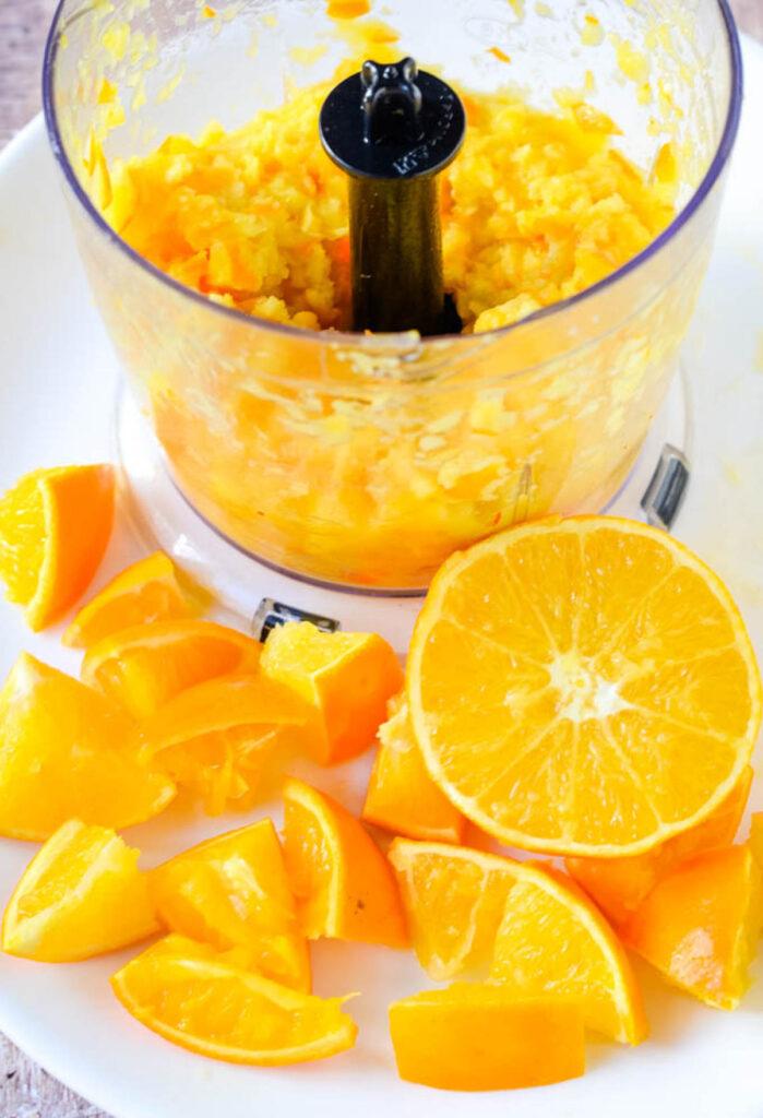 oranges in food processor