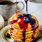 spiced blueberry and whisky pancake syrup pin image