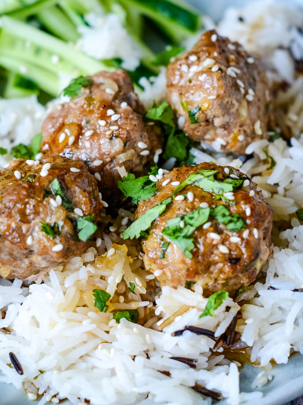 close up of meatballs with glaze