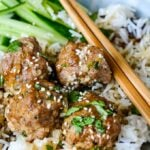 sweet and sour meatballs pin image