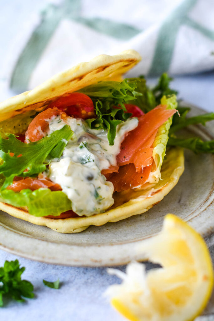 tartare sauce in a wrap with smoked salmon and salad