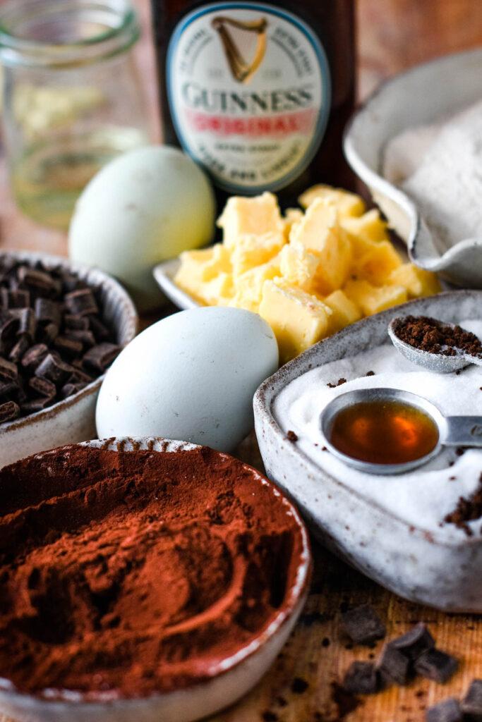 ingredients for guinness brownies