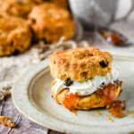 fruit scone with cream and jam