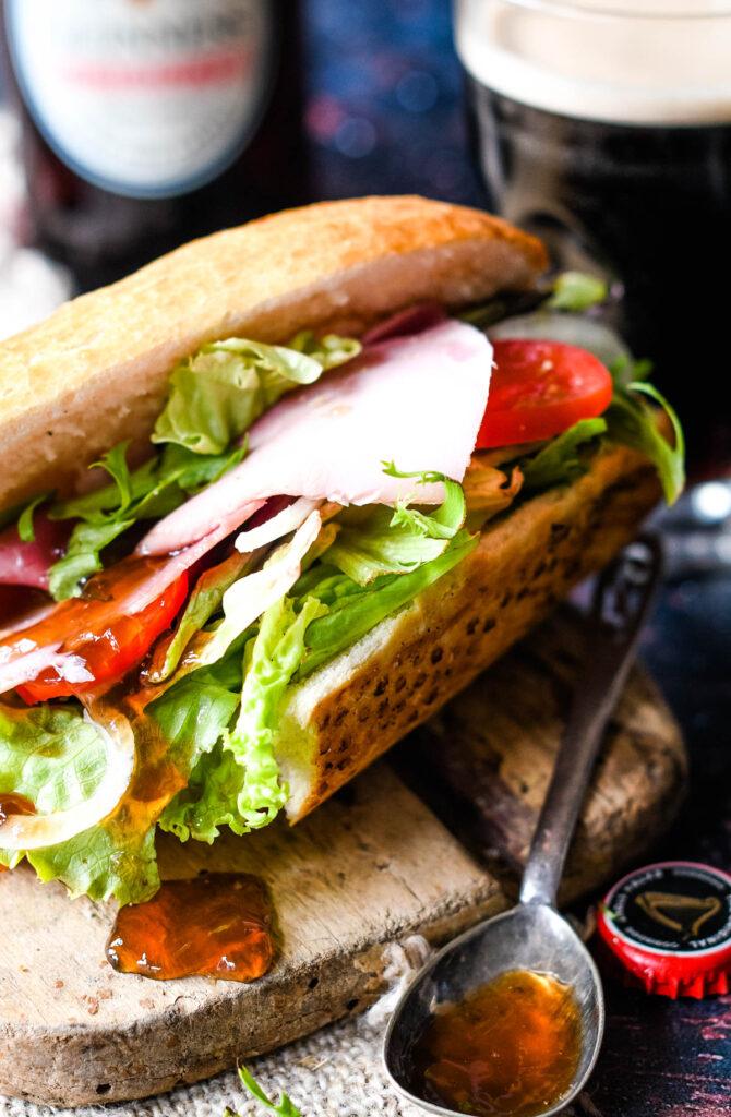 close up of salad sandwich