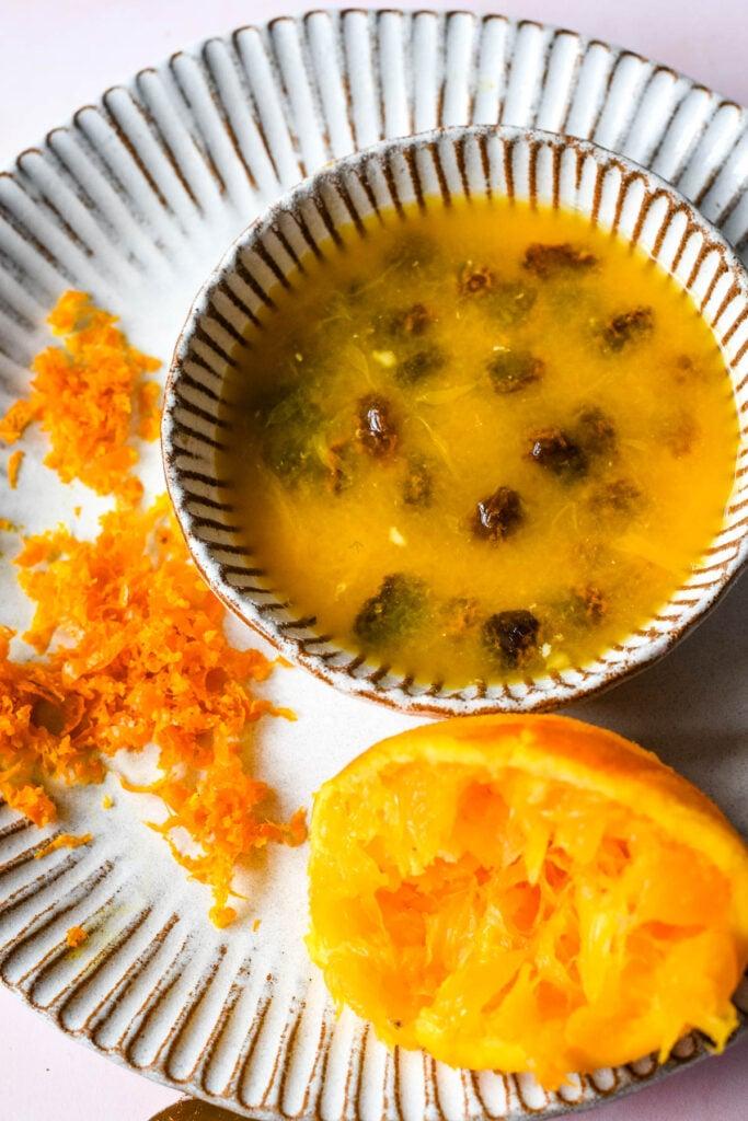 soaking the raisins in orange juice