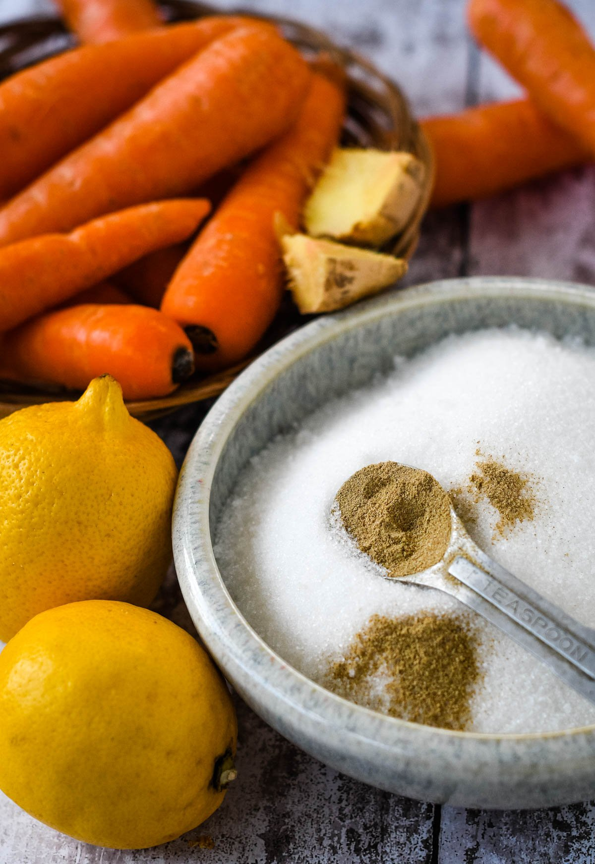 ingredients for carrot and lemon jam