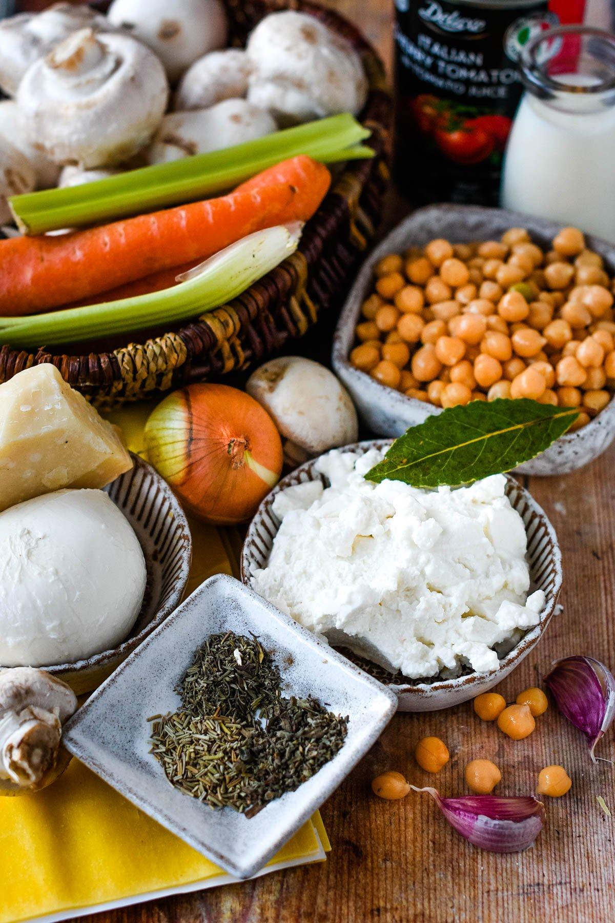 ingredients for vegetarian lasagne