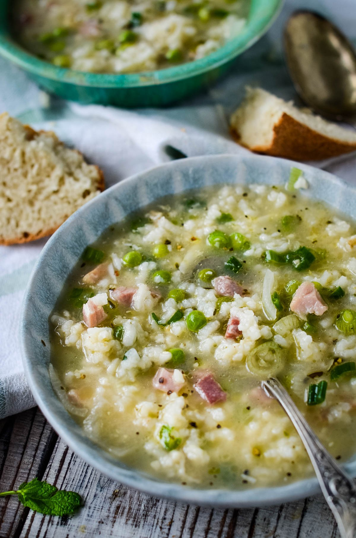 pea and ham risotto soup in bowl