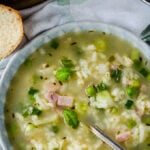 pea and ham risotto soup pin image