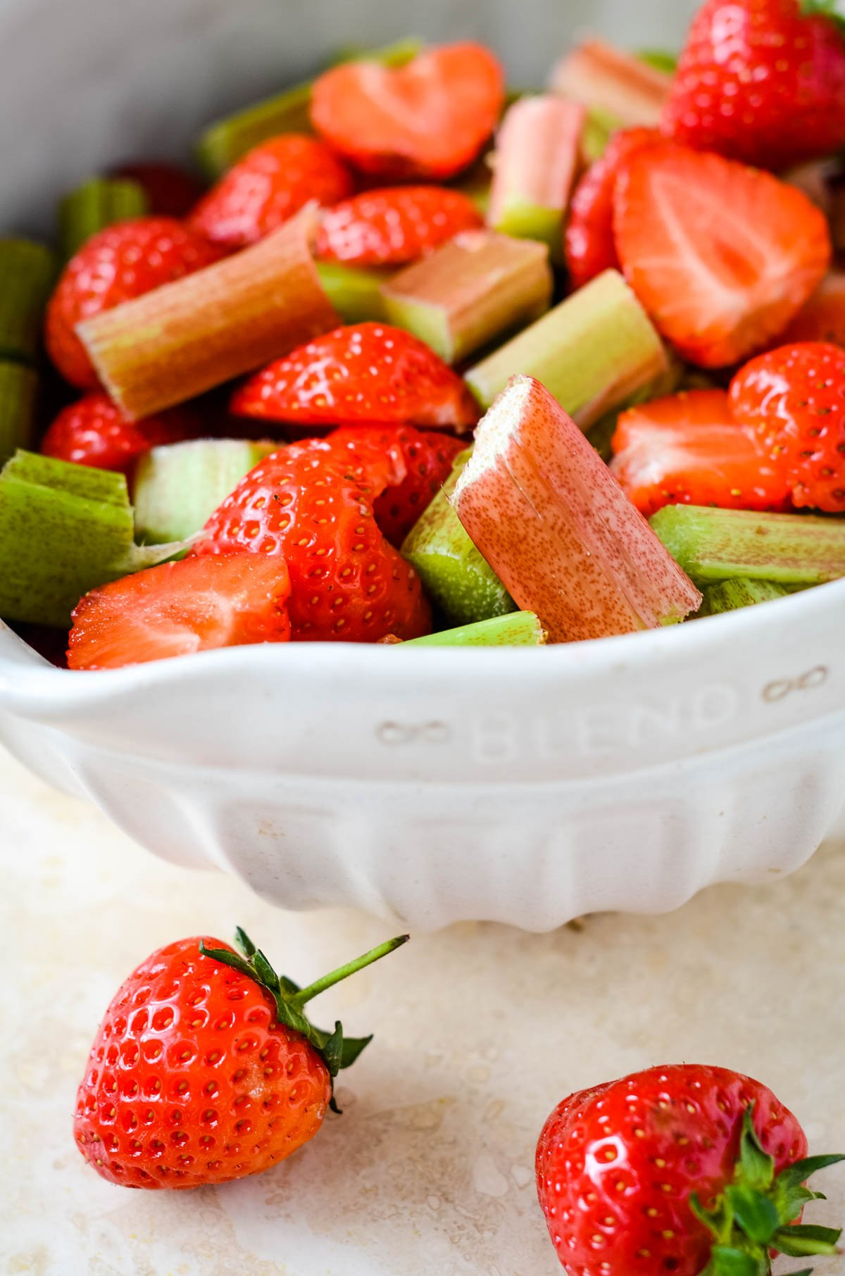 ingredients for strawberry and rhubarb jam