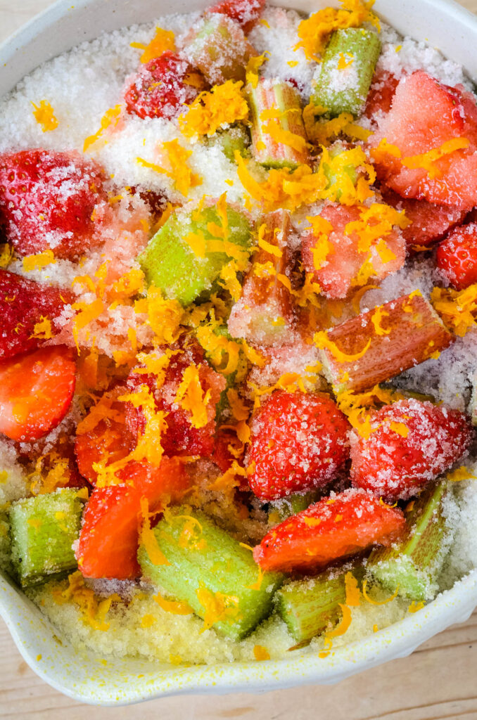 fruit in bowl with sugar
