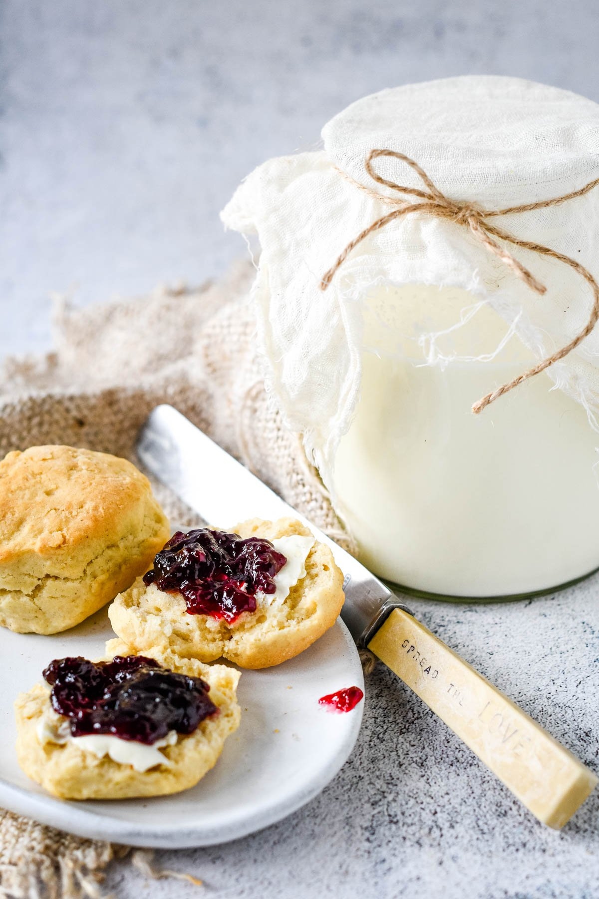 jammy scones beside the jar