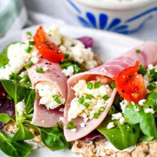 cottage cheese with ham salad on crispbreads